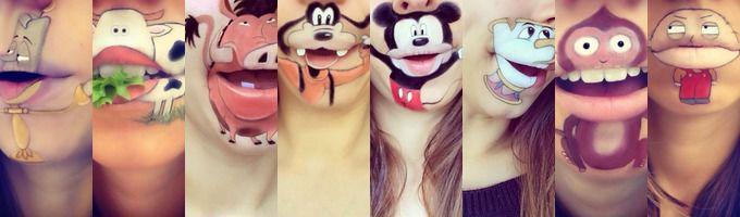 Bouche maquill avec des personnages dessins anim s - Bouche en dessin ...