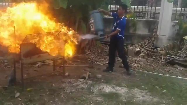 barbecue gaz flamme